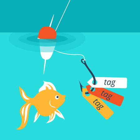 nibble: Vector illustration showing a catchy tag , internet advertising that attracts customers to website.