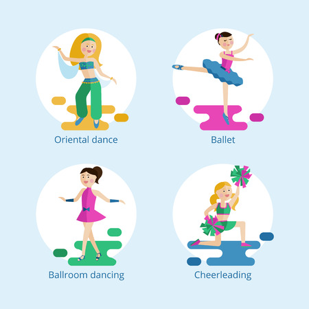 cheer leading: Set of vector icons. Types of dance styles for girls. Illustration