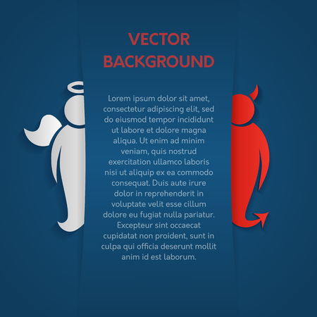 Vector background for text. An angel and a demon under a layer of paper. Ilustracje wektorowe