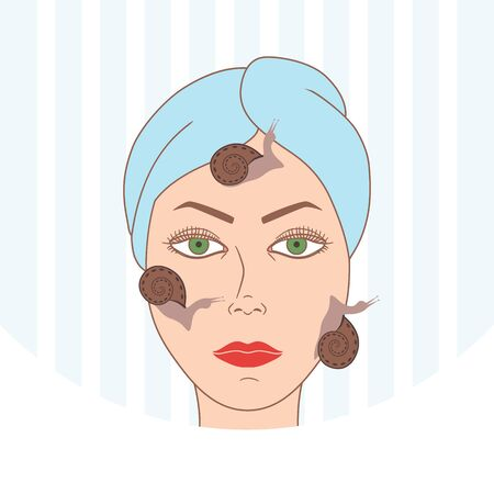 Snail facial treatment. Spa procedure. Vector illustration 向量圖像