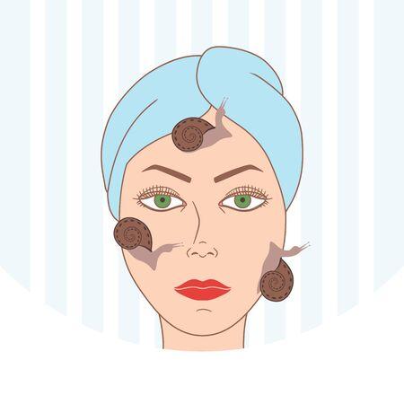 Snail facial treatment. Spa procedure. Vector illustration Illustration