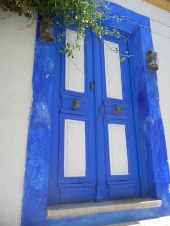blue door: Iconic Blue Door Stock Photo