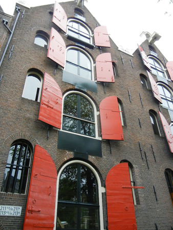 red shutters: Building with Red Shutters