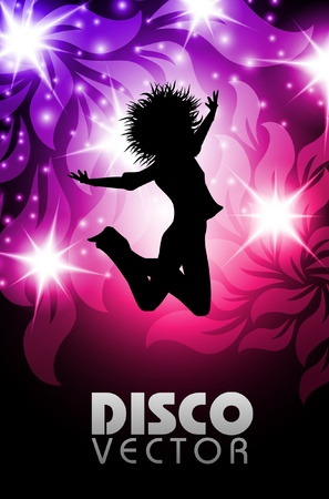 disco party: Disco party poster bloemen eps10