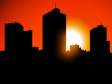 City Silhouette at sunset Vector