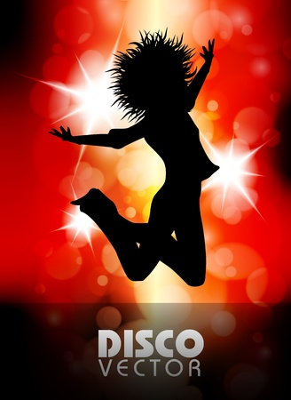 Disco party poster red eps10 Vector