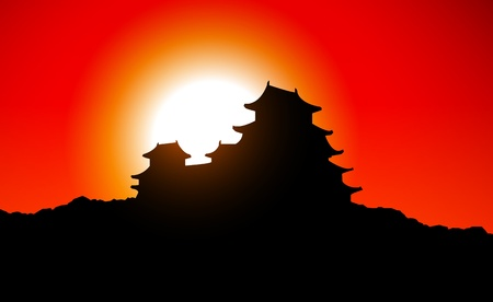 japan sky: Japan temple in sunset