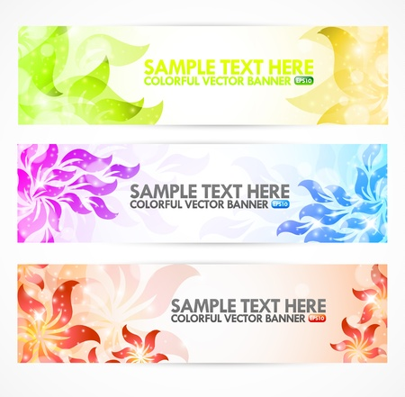 Floral Abstract Banners with modern design