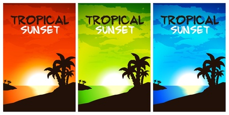 Tropical Sunset Vector - 3 color themes Stock Vector - 9942207