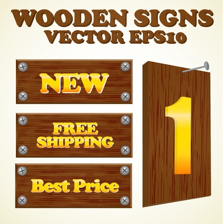 Wooden signs with gold text Vector