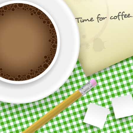 Coffee, sugar, pencil and paper on table Vector