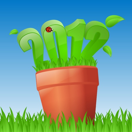 New year is growing in flowerpot Vector