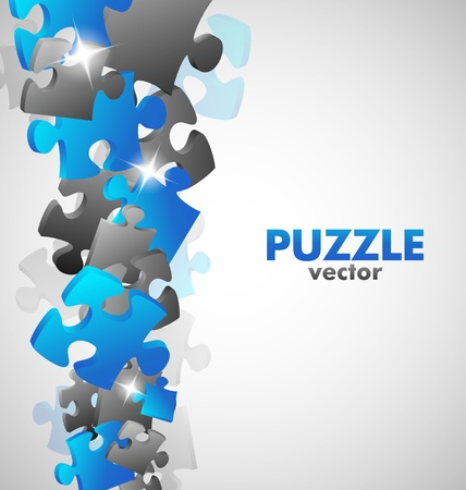 jigsaw puzzle pieces: Puzzle Dise�o Azul Vectores