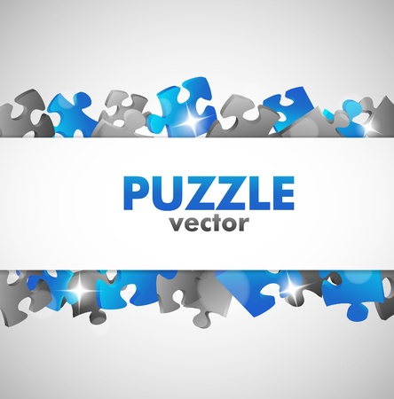 Puzzle Blue Design Banner Vector