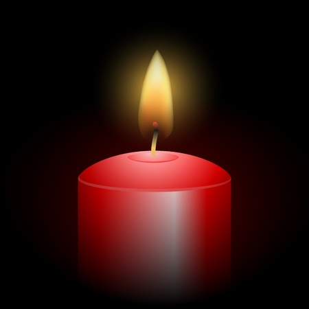 Red Candle in dark room Vector