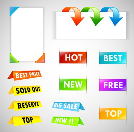Big Colorful Labels Set - Easy Editable Vector