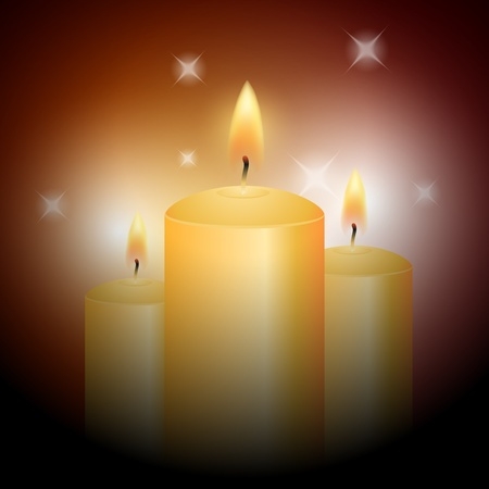 warmly: Yellow candles on abstract background Illustration