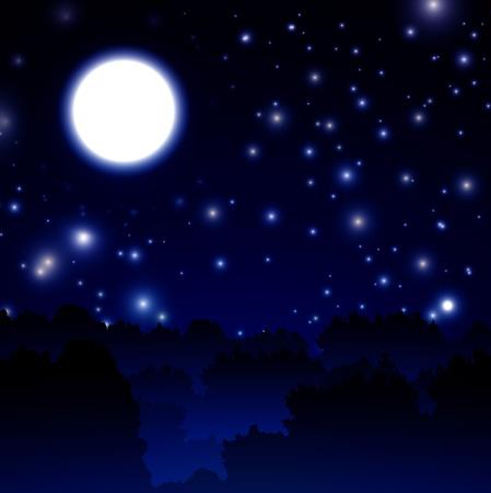estrella caricatura: La medianoche del paisaje Vectores