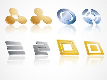 Set of metal design elements Stock Vector - 11703611