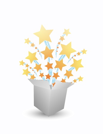 Stars fly from box Stock Vector - 11810722