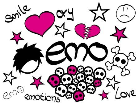 Set of Emo Design elements Vector