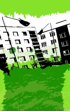 Green Urban Grunge Poster Vector
