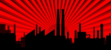 Industry silhouette - dawn red Stock Vector - 11703564