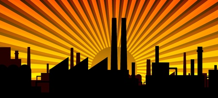 Industry silhouette - dawn yellow Vector
