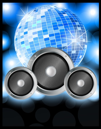 discotheque: Music party poster blue