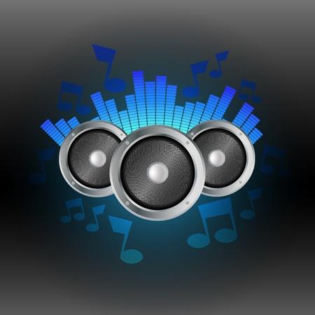 electronic music: Musica equalizzatore blu con altoparlanti