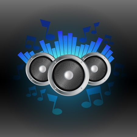 Niebieski equalizer muzyczny z głośnikami Ilustracje wektorowe