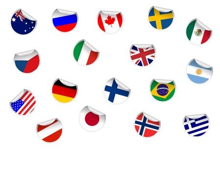 czech flag: Set di sticker Flag Vettoriali