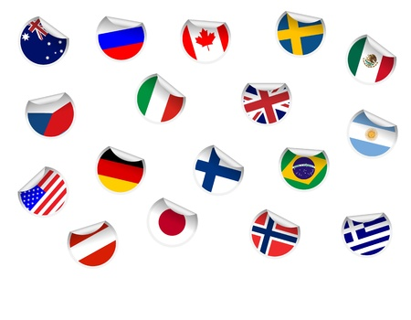 Set of Flag sticker Vector