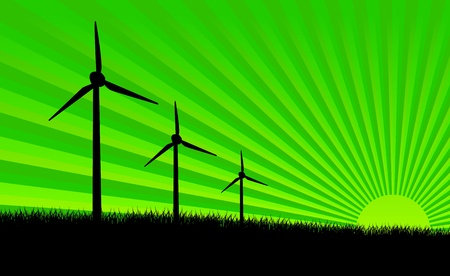 Green meadow with Wind turbines Stock Vector - 11703608