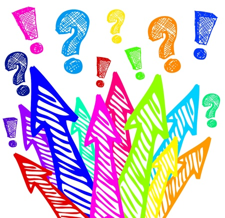 Colorful arrows design - question and answers Vector