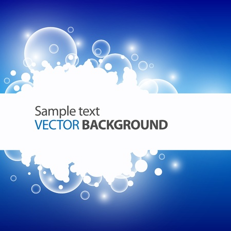 Bubbles on blue background with place for text