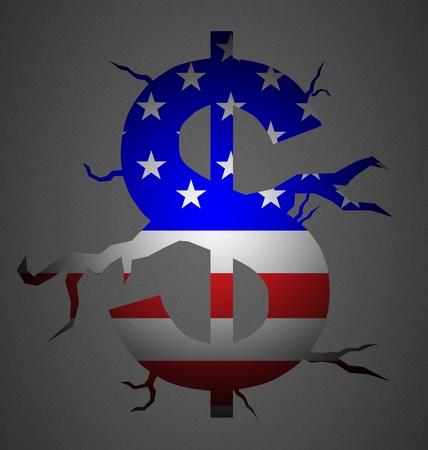dolar: Símbolo de dolar, con fisura y con la bandera de Amercian