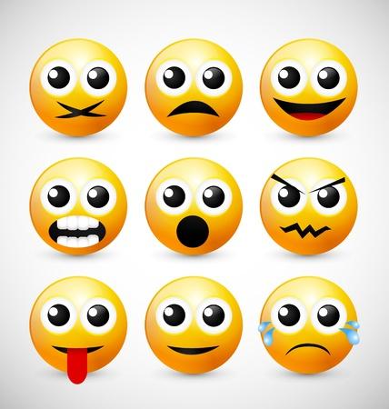 cry icon: Set of Nine Yellow Emoticons Illustration