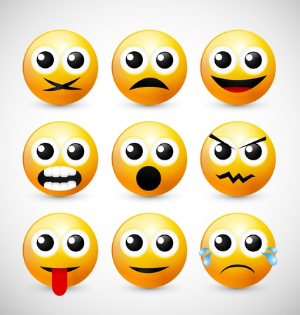 Set of Nine Yellow Emoticons Vector
