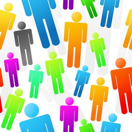 Colorful People Seamless Background Texture