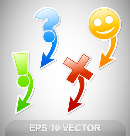 Four Navigation Stickers with arrow Vector