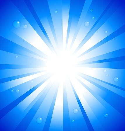 raggi di luce: Sunburst su sfondo blu con gocce d'acqua