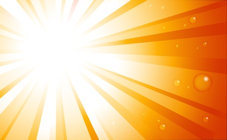 Sunburst with water drops background Vector