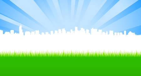 Clean City and Green meadow scene Stock Vector - 13098710