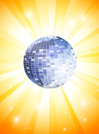 mirrorball: Summer Theme with disco ball Illustration