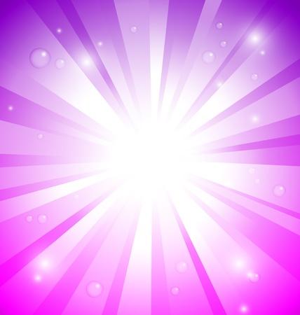 raggi di luce: Sunburst su sfondo rosa e viola con gocce d'acqua