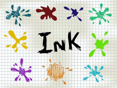 Colorful Ink Blots set - hand drawn Vector