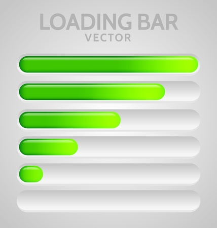 Green Loading Bars set with shine
