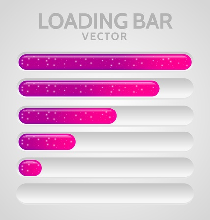 Pink Loading Bars set with shine Vector