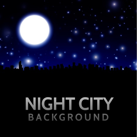 night view: Night city landscape with big moon Illustration